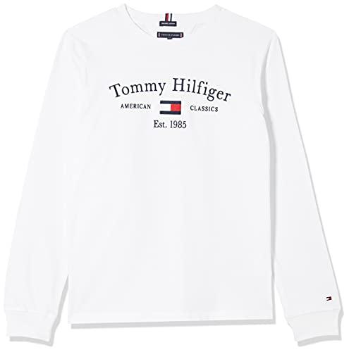 Tommy Hilfiger TH Artwork tee L/S Camiseta, White, 14 años para Niños