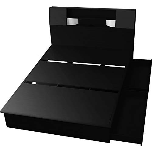 DORIS ベッド ダブル フレームのみ 収納付き 照明付き 扉付き 組立式 ブラック クライブ