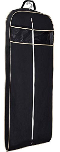 MISSLO Gusseted 60' Suit Dress Garment Bag with Clear Window Zipper Pocket Long Garment Cover (Black)