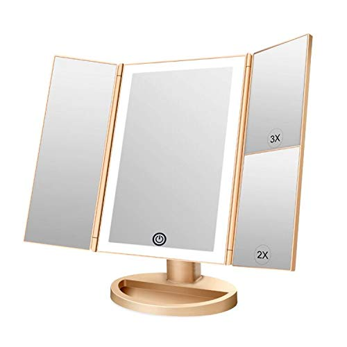 CZW Makeup Vanity Mirror with 3x/2x Magnification,Trifold Mirror with LED Lights, 180 Degree Adjustable Rotation,Dual Power Supply, Countertop Cosmetic Mirror