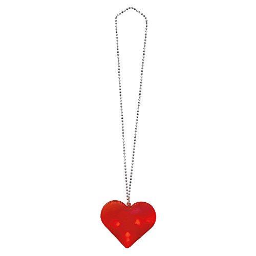 Colar de LED de coração de 81 cm, vermelho
