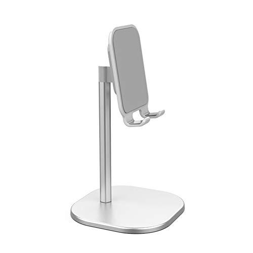 Soporte de teléfono de escritorio, soporte de tableta, metal 5 ° ~ 45 ° Soporte de teléfono escritorio ajustable de múltiples ángulos, soporte de tableta para todos Ipa y Iphone para grabación video,Plata