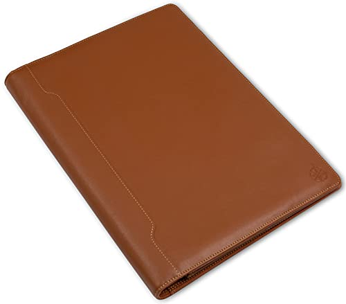 Napa Leather Padfolio - Professional Organizer and Resume Folder, Stunning 2 Tone Leather Document Folio with Writing Pad. Ideal Gift for Men and Women