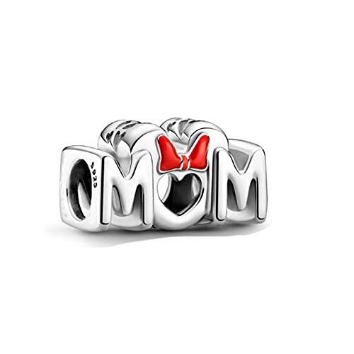 WUXEGHK Día De La Madre 925 Cuentas De Plata Esterlina Lazo De Ratón Y Abalorios De Mamá Se Ajustan A La Pulsera Original De Pandora Joyería DIY para Mujer