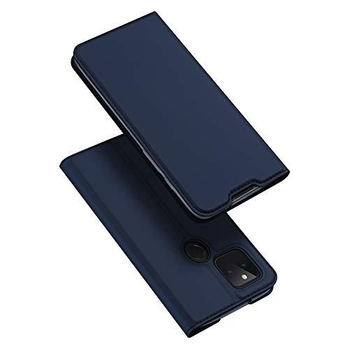 DUX DUCIS Hülle für Google Pixel 5, Leder Flip Handyhülle Schutzhülle Tasche Case mit [Kartenfach] [Standfunktion] [Magnetverschluss] für Google Pixel 5 (Blau)