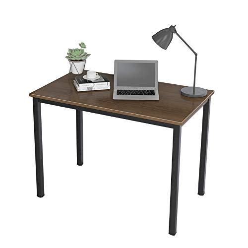 DlandHome Computertisch Schreibtisch 100 x 60 cm, anständig und Stabil Holz, Moderner Bürotisch Arbeitstisch PC Laptop Tisch für Büroarbeit und Hausaufgaben, Walnuss & Schwarz