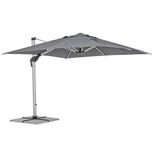 Ombrellone da giardino 3x3 modello RIMINI con braccio laterale, telo da 250gr e rotazione palo 360 gradi, ombrellone con palo in alluminio