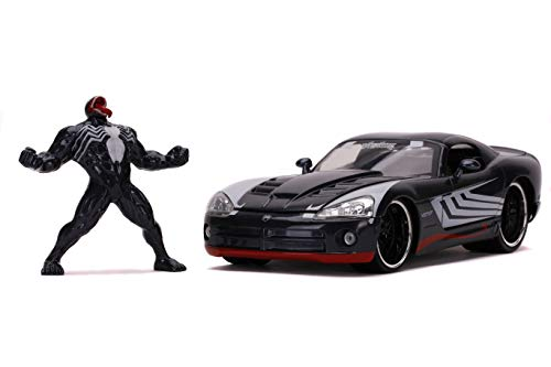 Marvel 1:24 Dodge Viper Die-cast Car with 2.75u0022 Venom Figure, Toys for Kids and Adults