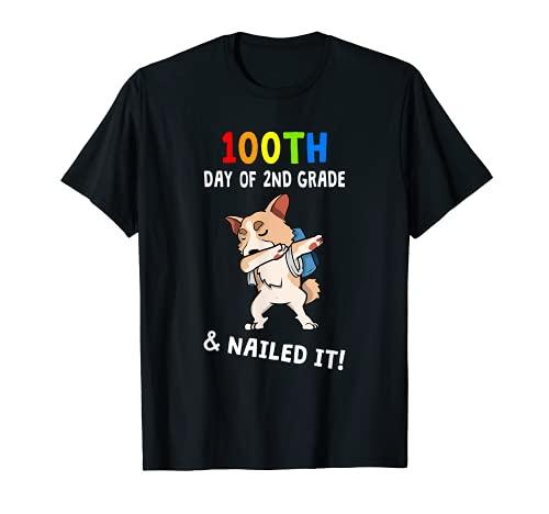 100º Día de la Escuela y clavado It! Corgi 2º Grado Profesor Camiseta
