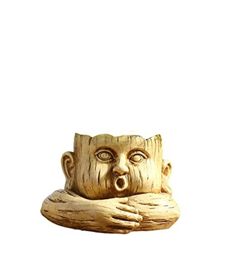 Msheng Jarrón de cabeza humana, flor de cactus, maceta humanoide de mesa, decoración del hogar, niños, 20 x 13 cm