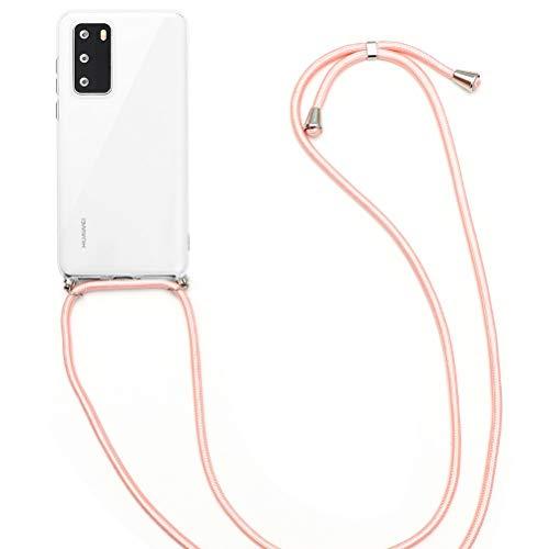 ZhuoFan Funda para Huawei Y6 Pro 2017/Huawei P9 LiteMini 5.5'',Transparente Silicona Caso TPU Cárcasa Fundas Collar Cordón Cadena Cuerda teléfono móvil Protectora Carcasa de telefono,Oro Rosa