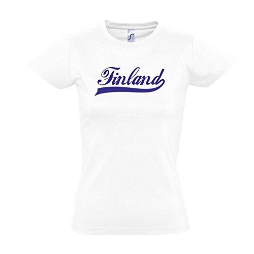 Damen T-Shirt - Finland Oldschool Finnland LÄNDERSHIRT EM / WM FAN Trikot S-XXL , White - blau , M