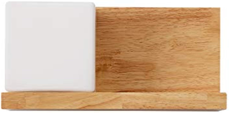 AGECC 110-230V Wandleuchte für den Innenbereich Einfaches modernes Holz, rechteckiges Wohnzimmer, Nachttischlampe Wandgang künstlerischer Stil, A