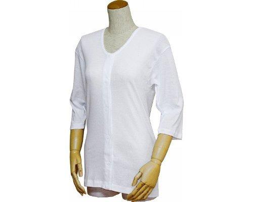 婦人前開きシャツ (ワンタッチテープ式) 七分袖  LL