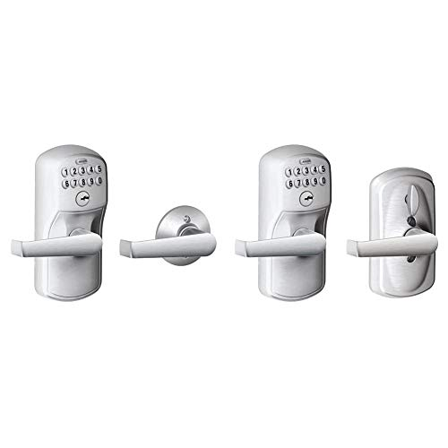 Schlage FE575 PLY 626 ELA Plymouth Keypad Entry with Auto-Lock and Elan Levers, Brushed Chrome & FE595 PLY 626 ELA Plymouth Keypad Entry with Flex-Lock and Elan Style Levers, Brushed Chrome