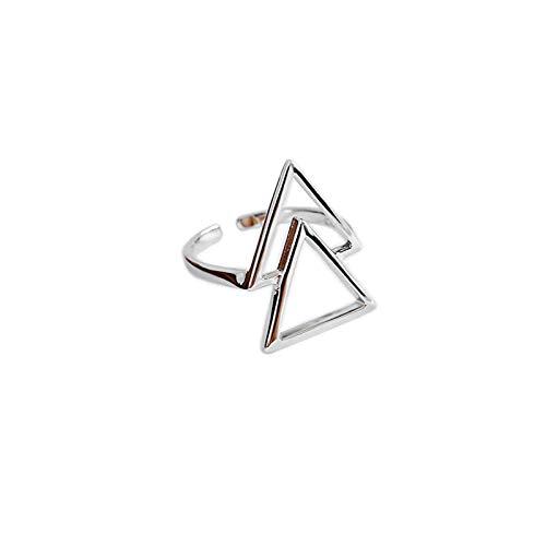 StarGems Geometría hueco doble triángulo ajustable hecho a mano 925 anillo vintage N C2166