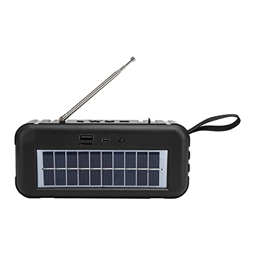 PUSOKEI Portable Speaker- Portable Bluetooth Speaker with a Flashlight Function, Outdoor Speakers Support FM, Mini Portable Solar Powered Subwoofer (Grey)
