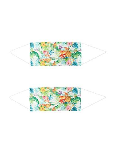 Zwillingsherz Unisex Mund-Nasen-Maske 2er Pack Hawaii weiß One Size