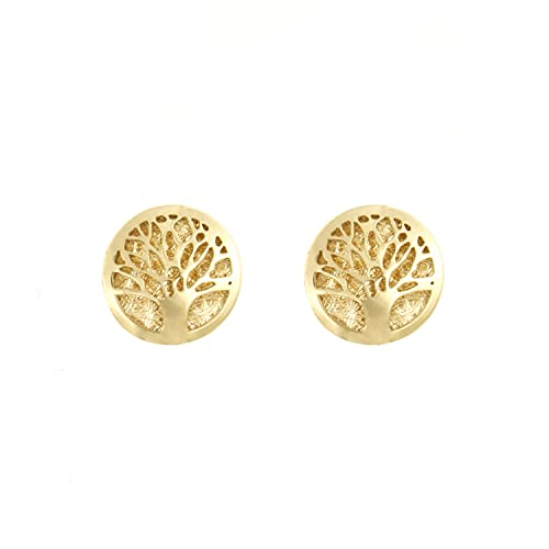 Lucchetta Joyas de Oro para Mujer - Pendientes Árbol de la Vida en Oro Amarillo 14 quilates