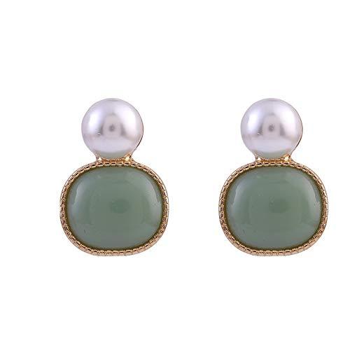 Retro Semplice Imitazione Perla Barocca Clip di Perle su Orecchini Vintage Round Resin Verde Clip Orecchini Senza Piercing Femmina