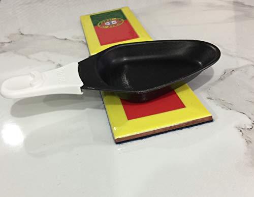 Soporte para sartenes amarillo Portugal para raaclette 7,5 x 15 cm, 1 pieza de azulejos metálicos helados en resina epoxi