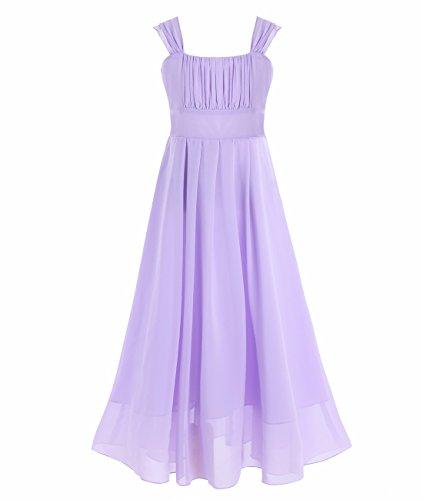 FEESHOW Big Girls Chiffon Junior Bridesmaid Long Dress Wedding Ball Gown Dance Maxi Dress Lavender 10