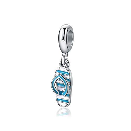 Charm Anhänger,Original Versilberte Perle Legierung Emaille Blau Weiß Hausschuhe Baumel Charm Fit Armband Armreif Diy Frauen Schmuck