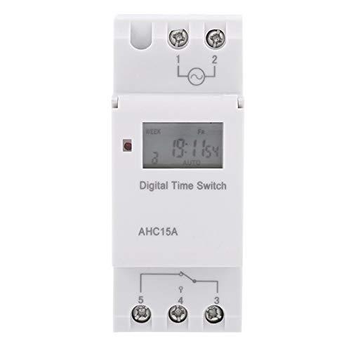 Relé electrónico industrial AHC15A de la exhibición llevada del carril del dinar del interruptor programable del contador de tiempo encendido apagado práctico