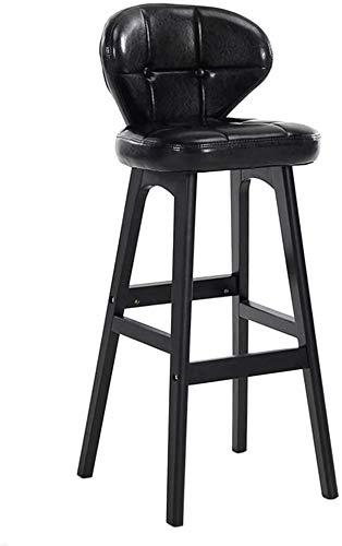 Taburete alto taburete bar Barra de madera sólida Stool- Silla moderna simple bar con la PU del amortiguador y el respaldo -por restaurante de la cocina Contador, Marrón / Negro / Verde (Tamaño: Senta