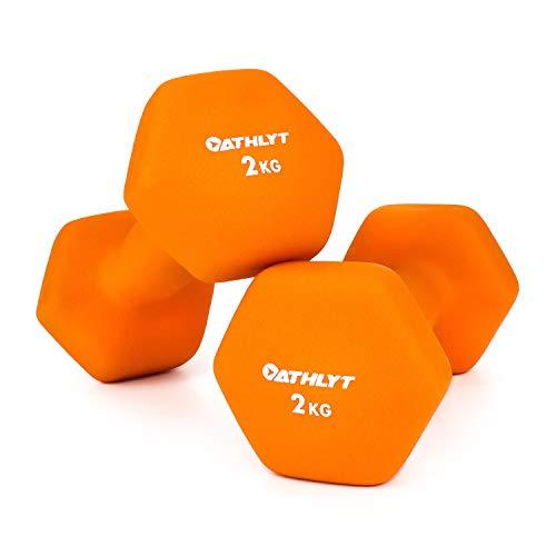 Athlyt - Juego de mancuernas de neopreno, 2 x 5 kg, naranja