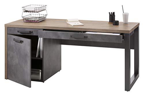 Amazon Marke - Movian - Schreibtisch mit 2 Schubladen, 1 Fach mit Türen, 170 x 69 x 78cm, Eiche/Tadao