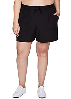RBX Active Women's Plus Size Relaxed Fit Breathable Ventilated Stretch Woven Athletic Walking Short with Pockets S20 Black 2X