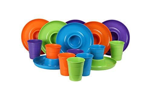 GreatPlate GP-GCP-TLOP-8x8AZ Teal Lime Green Orange Purple Mix Combo Pack, 2 Teal, 2 Lime Green, 2 Orange, 2 Purple GreatPlates, Food Tray and Beverage Holder, 2 Teal, 2 Lime Green, 2 Orange, 2 Purple GreatCups, Dishwasher Safe, Microwave Safe, Made in USA, Picnics, Parties, Tailgates, Appetizers, Great for Kids