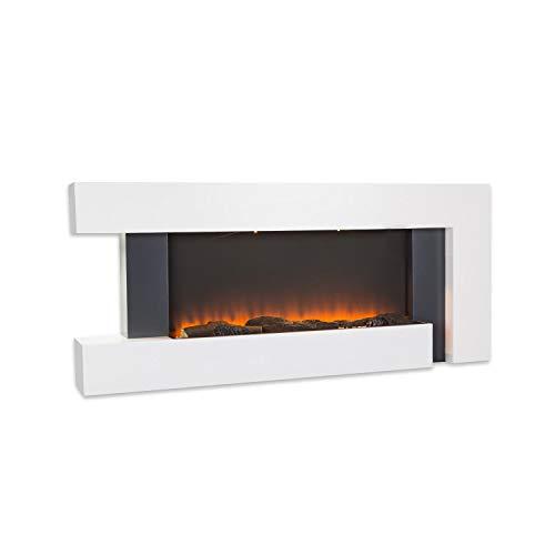 Klarstein Studio Light & Fire - Elektrokamin mit LED-Flammenillusion, Elektro Kamin mit Timer-Funktion und Thermostat, 1000/2000W, MDF-Gehäuse, inkl. Fernbedienung, Ambient Down Light, Fire 2, weiß