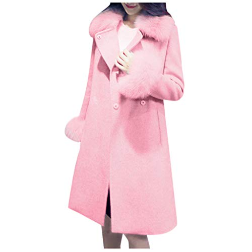 HGWXX7 Womens Pea Coat Oversized Lapel Mid Long Jacket Plus Size Faux Fur Long Sleeve Peacoats with Pocket Pink
