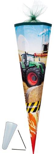 alles-meine.de GmbH Schultüte - Traktor 85 cm - mit Tüllabschluß Tüll - 6 - eckig Zuckertüte ALLE