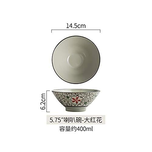 LLDKA Ciotola di Ceramica Creativa Giapponese tagliatelle Ciotola di Instant Noodles zuppiera Grande Ciotola Ristorante Studenti Ciotola casa,9