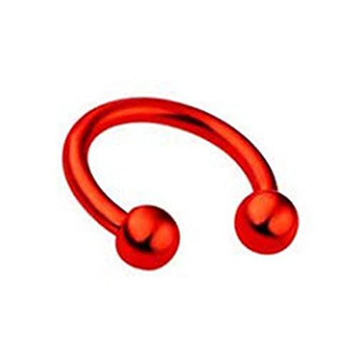 Piercing de nariz de acero inoxidable colorido en forma de C para la nariz, anillo de nariz con punta de moda (color metálico: bola roja)