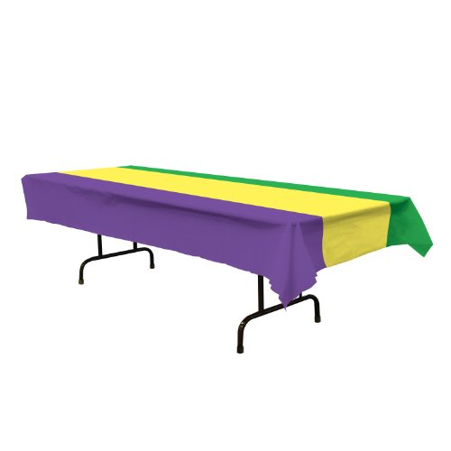 "Mardi Gras Tablecover (golden-yellow, green, purple) Party Accessory  (1 count) (1/Pkg) 54"" x 108"""