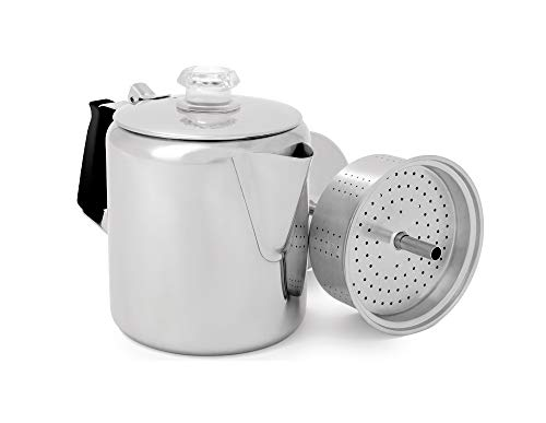 GSI Outdoors Glacier Stainless Steel Percolator Coffee Pot with Silicone Handle, 3-Cup