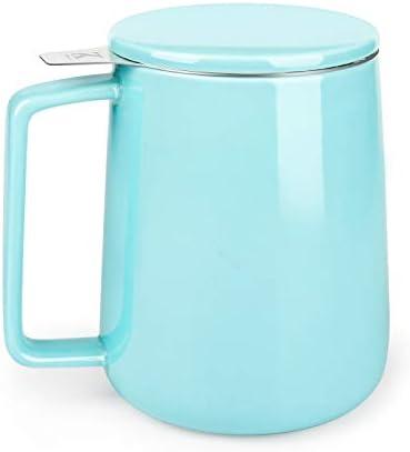 KitchenTour Porcelain Tea Mug with Infuser and Lid Large Capacity Mug with Infuser Basket 20oz product image