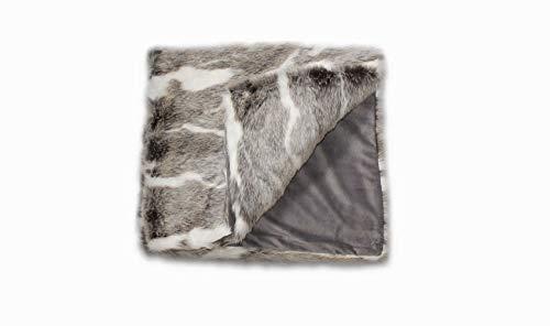 Meubletmoi Plaid Fausse Fourrure Blanc et Marron - Doux et épais - décoration Chalet Chic Luxe - Aspen