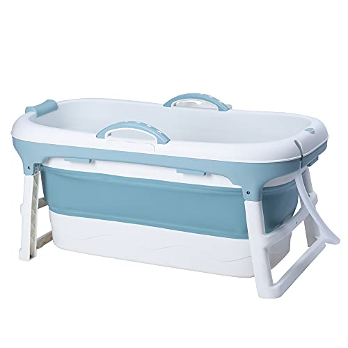 Schwänlein® Faltbare Badewanne Erwachsene 127cm | Ideal für kleine Badezimmer | mit Seifenkorb, Nackkissen, Praktisch und Tragbar (Blau, 127)