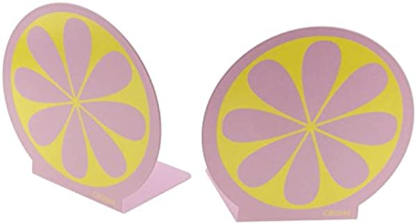 Brightly Painted Colorful Cute Lemon Nonslid Metal Kids Bookends Book Ends For Kids Home Decoration Pink