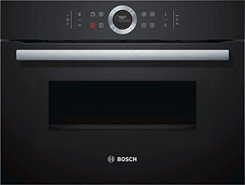 Bosch CMG633BB1 Serie 8 Einbau-Kompaktbackofen mit Mikrowellenfunktion / 45 L / Schwarz / ColorGlass / AutoPilot 14 / TFT-Display