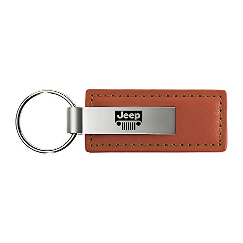 Genuine Brown Leather Rectangular Silver Jeep Grille Logo Key Chain Fob Ring