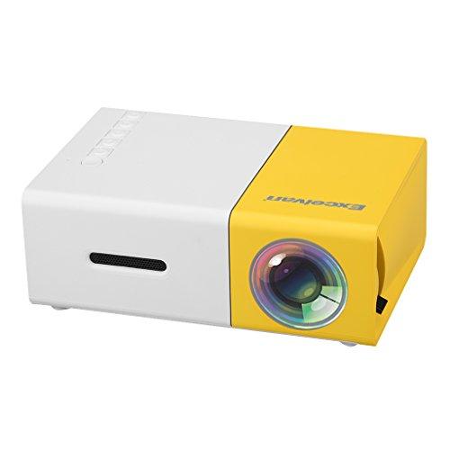 "Excelvan YG300 - Mini LED Proyector Portátil(300x240P, 4: 3 16: 9, Soporta 1080P,Proyección 24""- 60"",Altavoz Incorporada,Batería Externa,HDMI USB AV SD,Compatible con Móvil PC Xbox STB)Blanco Amarillo"