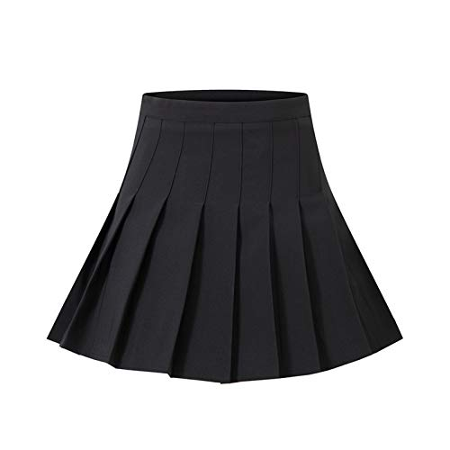 Falda Plisada de Cintura Alta para Mujer, Minifalda de Tenis Patinadora en línea A para Mujer y niña, Color sólido/Falda Corta a Cuadros