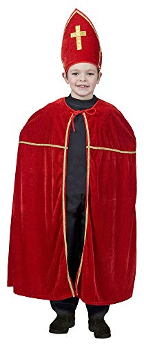 Das Kostümland Sankt Nikolaus Kostüm für Kinder - Bischof Umhang Mitra für Weihnachten Krippenspiel Theateraufführung