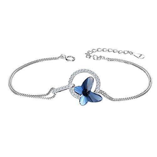 Pulseras Mujer - Clearine Mariposa Cristal Plata de ley 925 Círculo para Novia Boda Fiesta
